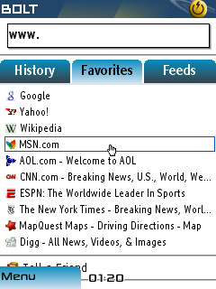 navegador bolt para java